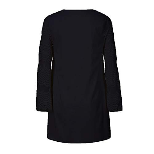 Otoño Vestido Mujer Ropa Negro Corto Cuello Hueca de Vestido Challeng Larga Casual de Redondo Manga Vestido Mini Gasa Flojo IYxEwX
