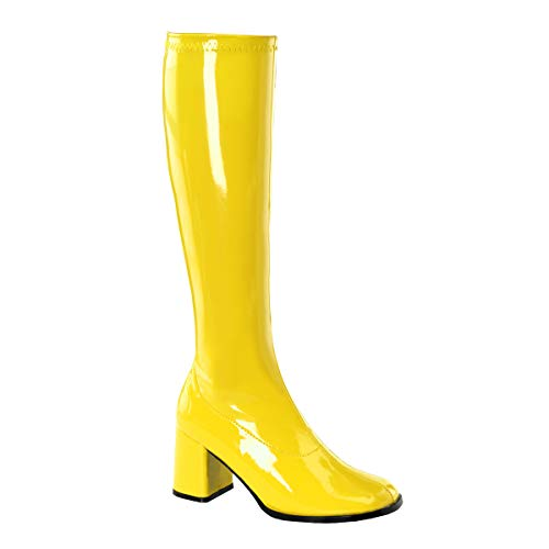 (Funtasma by Pleaser Women's Gogo-300 Boot,Yellow Stretch Patent,8 M)