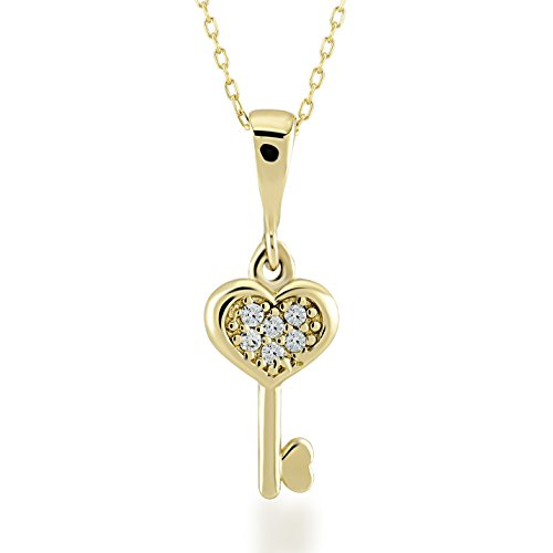 Gelin 14k Real Gold Heart Key Necklace for Women with Cubic Zirconia, 18 Inc