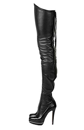 termarnoov 2019 Women Thin High Heel Thigh High Boots PU Leather Platform Booties Winter Zipper Over The Knee Boots Black