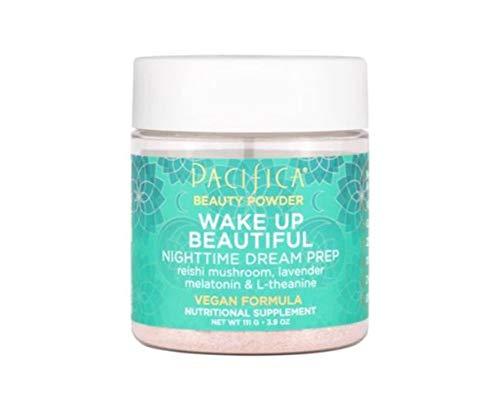 Pacifica Wake Up Beautiful Beauty Powder 3.9 Oz! Reishi Mushroom, Lavender Melatonin & L-Theanine! Zero Added Sugar, Vegan & Gluten Free! Yummy Blend to Drink Before Bedtime! Natural Lemon Flavor!