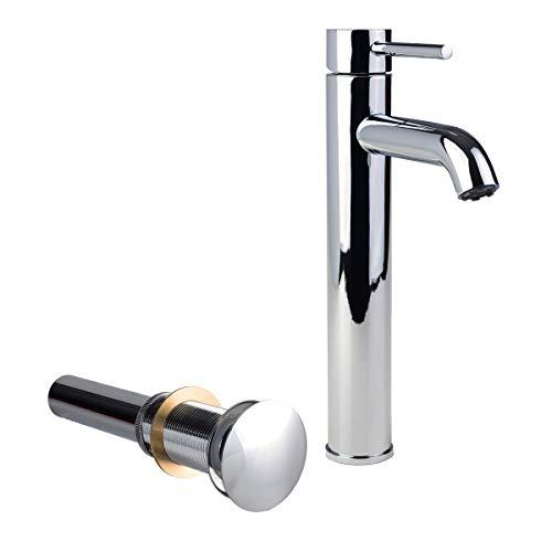California Faucets Umbrella Drain - Fontaine by Italia 81H14-CHR-VDRN Modern European Vessel Sink Bathroom Faucet and Drain in Chrome