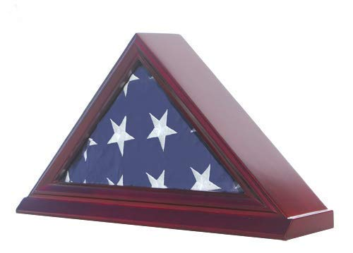 Flag Display Case Box Frame for 3'X5' Flag Folded. (NOT for Memorial or Funeral Flag), Solid Wood - Cherry Finish (FC35-CH) -
