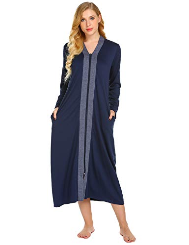 (Ekouaer Women's Long Robe Zipper Long Sleeve V-Neck Loungewear with Pockets)