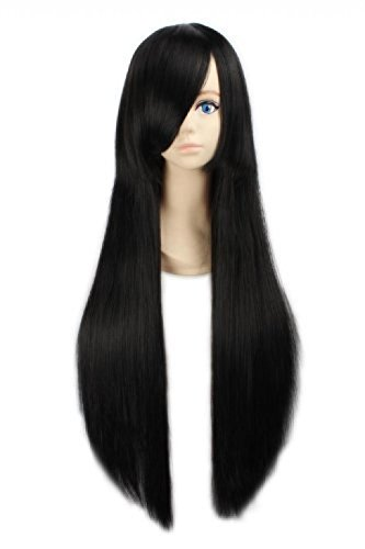 LOUISE MAELYS Womens 80cm Long Straight Wig Black Anime Cosplay Party Hair