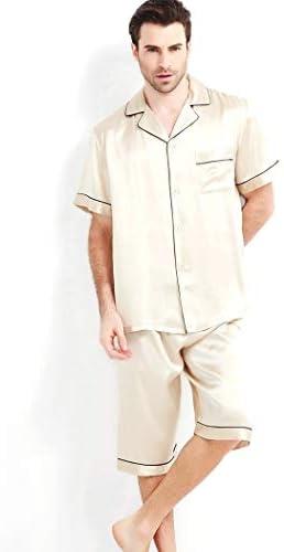 ンパジャマ メンズ半袖ナイトウェアパジャマセットの100%マルベリーシルク軽量パンツラウンジウェアボタンの首輪パジャマ -4561