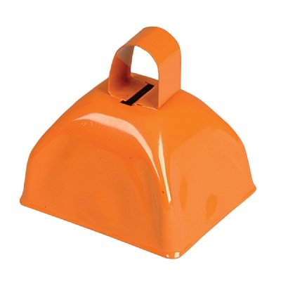 3-inch Orange Metal Cow Bell (Bulk Pack of 12 Bells) by Adventure Planet