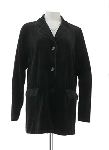 (Susan Graver Stretch Velvet Notch-Collar Button Front Blazer Black L New A344850)