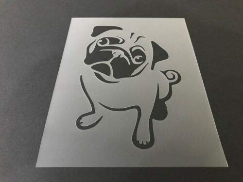 Reusable Stencil Pug Dog Laser Cut for Painting on Wood, Airbrush, 7in x 9in - Wood Pug