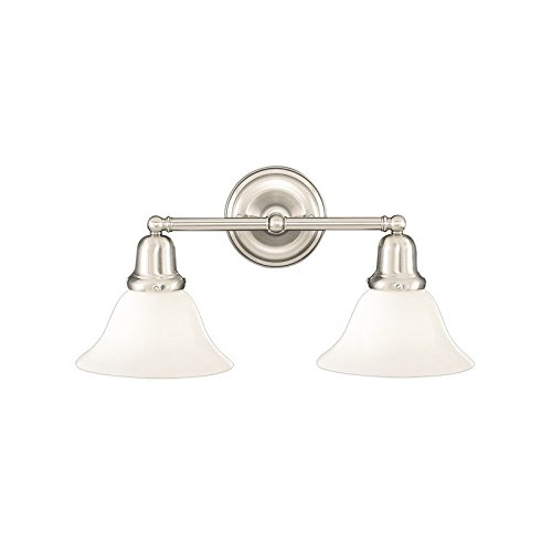 Edison Collection 2-Light Vanity Light - Satin Nickel Finish with Opal Glossy Glass Shade (415 Edison Collection)