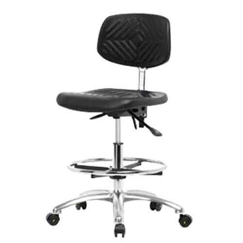 Chrome Casters Thomas ECOM PMBCH-MB-CR-T1-A0-CF-CC Polyurethane Medium Bench Height Chair with Chrome Base with Tilt and Without Arm Medium Back Chrome Foot Ring