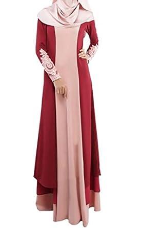 WSPLYSPJY Women's Lace Kaftan Color Block Islamic Abaya Muslim Dress