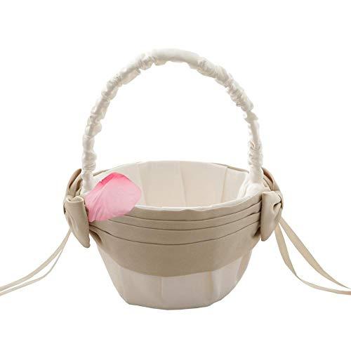 Candy Christmas Basket Wedding Baskets Satin Flower Candy Basket Flower Basket for Wedding Plain Pearl Handle Ivory Flower Basket