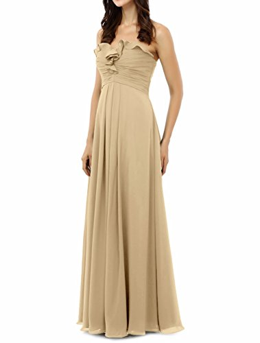 Dress Wedding A Bridesmaid Long Party Elegant Chiffon Line Amore Simple Dress Bridal Champagne wzXqnFCP