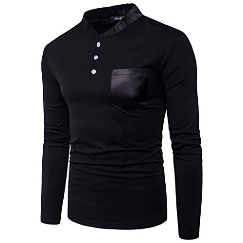 LISTHA V Neck Tops Pullover Personality Men's Slim Long Sleeve Button Shirts