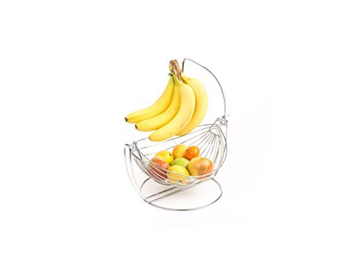 Home N Kitchenware New Fruit Hammock Basket and Banana Hanger Hook, Stainless Steel, Silver by Home N Kitchenware