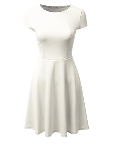 Doublju Stretchy Flared Midi Skater Dress for Women with Plus Size (Made in USA) Ivory Medium
