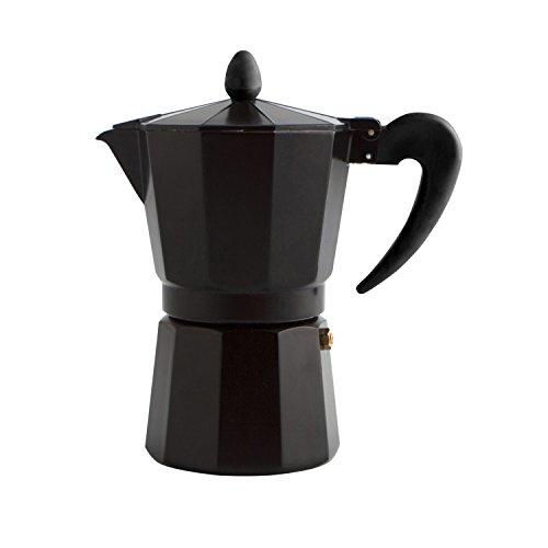 Quid CAFETERA 3T Black Coffee Alum INDUC QD Italiana, Acero Inoxidable, Negro, 3 Tazas