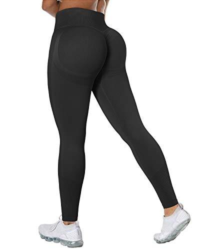 DOULAFASS Women Seamless Leggings High Waisted Butt Contour Workout Gym Yoga Pants (Large, S90-Black)