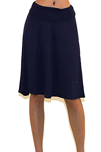 asic Fold-Over Stretch Midi Knee Length Flare Skirt - Made in USA (Small, K8, Navy) (Soft Stretch Skirt)