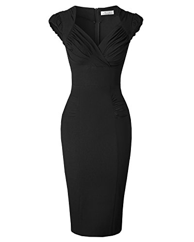 Newdow Lady's 50s Vintage V-Neck Capsleeve Pencil Dress (X-Large, Black) (Sweetheart Dresses Top)