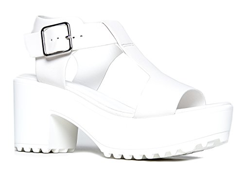 White Leather Strap Sandal (Peep Toe Flatform, White PU, 9 B(M) US)