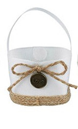 Beautiful and Elegant Lovely Mini Wedding Candy Basket Party Favor Bags for Wedding/Birthday/Quinceaneras/Sweet Sixteen or Any Special Event-Various Styles (White with Jute Bow)