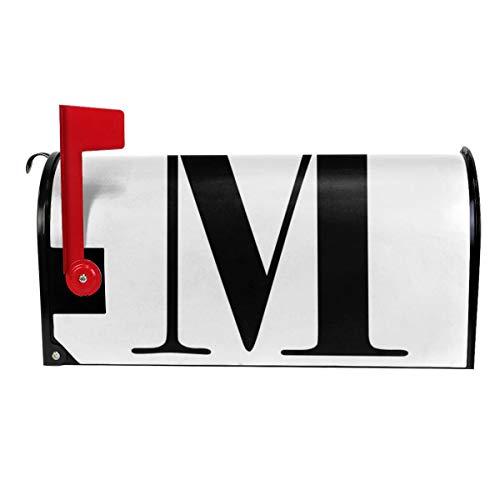 Milyla-ltd Letter M Monogram Initial Magnetic Mailbox Cover Letter Post Box Cover Wrap Standard Size 21