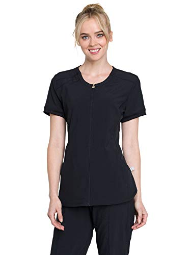 (Cherokee Infinity CK810A Women's Zip Front V-Neck Top Black XL)