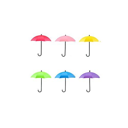 JPJ(TM) ❤Wall Hook❤6Pcs Home Colorful Umbrella Wall Hook Key Hair Pin Holder Organizer Decorative (Multicolor) from ❤JPJ(TM)❤️_Home decoration