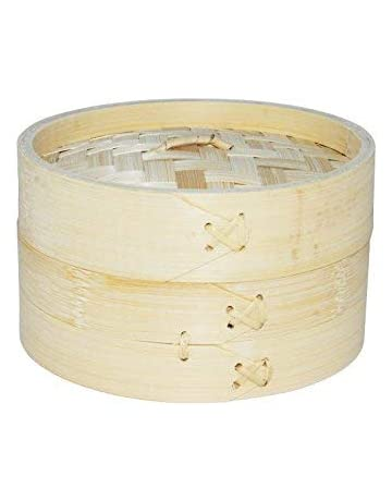 EM Home Vaporera de bambú para cocinar al Vapor, cocedor 1 Nivel con Tapa,