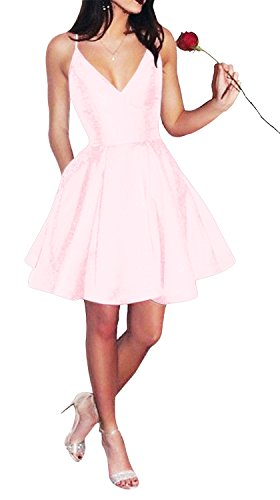 Yangprom Short Spaghetti Straps V-Neck A-line Homecoming Dress with Pockets (6, Light Pink)