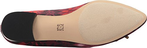 Anne Klein Womens Ovi Fabric Ballet Flat Wine Multi Fabric