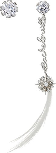 Betsey Johnson Women's Blue by Betsey Johnson Crystal Stone Stud with Silver Tone Details and Silver 'Bachelorette' Linear with Crystal Charm and Feather Drop Earrings Crystal One Size (Bachelorette Crystal)