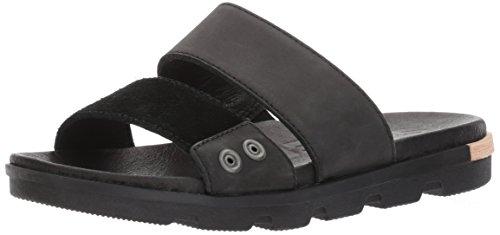 SOREL Women's TORPEDA Slide II Flat Sandal, Black, White, 9.5 Medium US