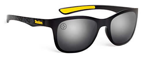 Officially Licensed NFL Sunglasses, Pittsburgh Steelers, 3D Logo on Temple - 100% UVA, UVB & UVC - Logo A Sunglasses