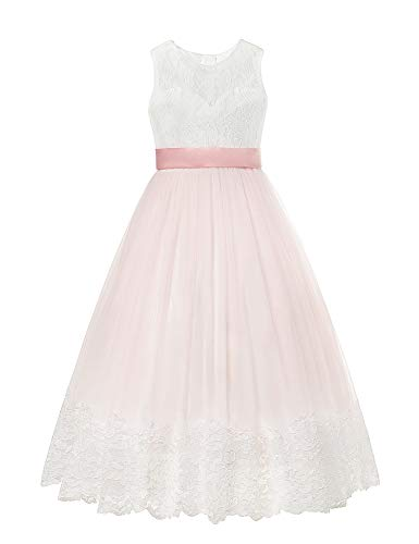 aibeiboutique Little Big Girls Party Gown Princess Lace Dress (White+Pink, 7-8 Years) -
