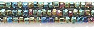 Beads Seed Glass Cut (Preciosa Ornela Czech 3-Cut Style Seed Glass Bead, Size 9/0, Aurora Borealis Transparent Green Iris)