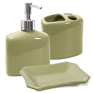 Designer colors ceramic bath accessories sage for Coloured bathroom accessories set