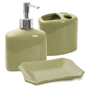 Designer Colors Ceramic Bath Accessories: Sage Green Lotion Soap Dispenser,  Toothbrush Holder U0026 Soap