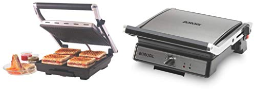 Borosil Super Jumbo BGRILLSS23 2000-Watt Grill Sandwich Maker (Black) and Super Jumbo 180¬∞ 2000-Watt Grill Sandwich… 2021 June Product 1: Large plate for 4 slice grill Product 1: Oil collector tray to remove excess oil and Slide Type Plate Locking Product 1: Thermal fuse for extra safety, Cord length: 1 m, Cool touch handle for safety