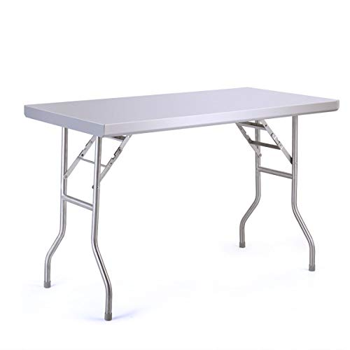 Sandinrayli Stainless Steel Folding Table Picnic Patio Camping Table 48
