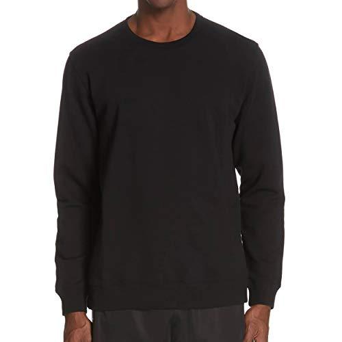 (Demography Men's Super Soft Fleece Black Basic Plain Pullover Crewneck Sweatshirt)