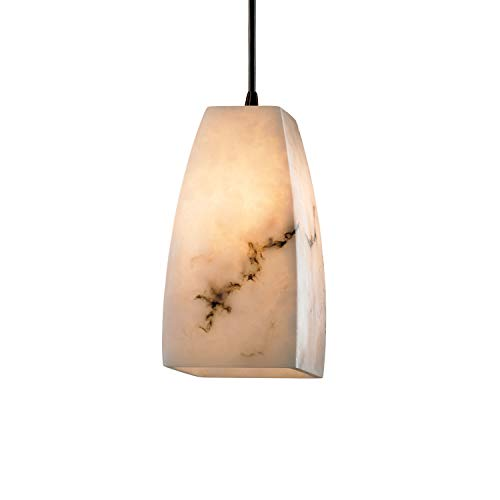 Justice Design Group FAL-8816-65-DBRZ Alabaster Stone/Glass Single Light Mini Pendant from The LumenAria Collection ()
