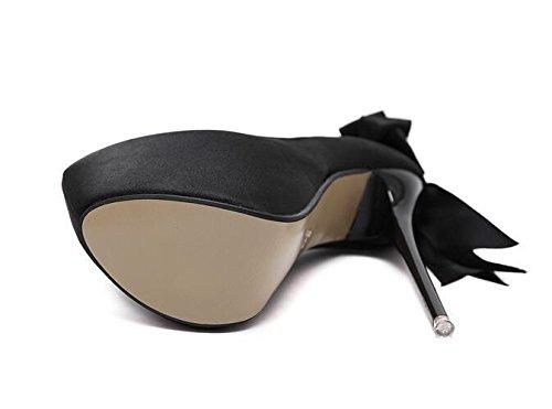 Femmes Fermé-Toe Court Chaussures 16Cm Sexy Satin Talons Haute Big Bow Femmes Chaussures , black , 39