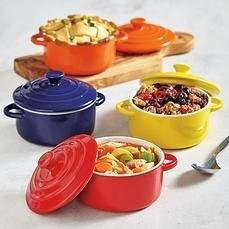 Colorful Stoneware Mini Casserole Pots With Lids - Set of 4