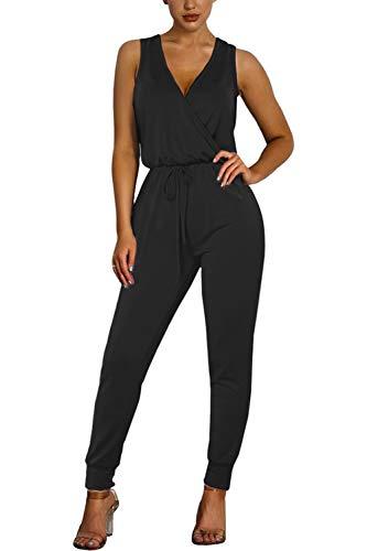 Fixmatti Women Fashion 1pc Low V Sleeveless Pant Set Romper Outfit Black S