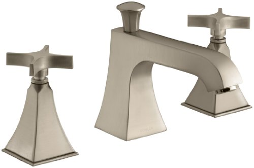 - KOHLER K-T428-3S-BV Memoirs Bath- or Deck-Mount High-Flow Bath Faucet Trim with Cross Handles and Stately Design, Valve Not Included, Vibrant Brushed Bronze