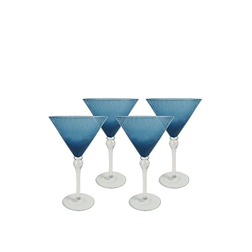 Artland 11641B Pebbles Martini Glass, Set Of 4 8 oz Slate Blue (Blue Glass Martini)