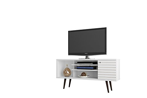Manhattan Wood Tv Stand - Manhattan Comfort Liberty Collection Mid Century Modern TV Stand With One Cabinet and Two Open Shelves With Splayed Legs, White/Wood